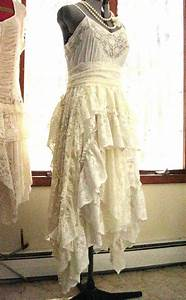ivory off white alternative bride tattered boho gypsy With recycled wedding dresses