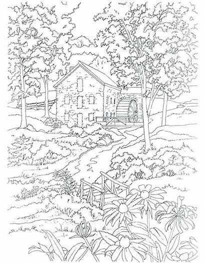 Coloring Pages Scenery Landscape Adults Drawing Colouring