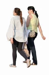 Two women walking | Free Cut Out people, trees and leaves