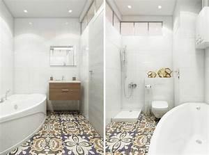 comment agrandir la petite salle de bains 25 exemples With carrelage adhesif salle de bain avec mini spot led