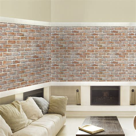white light brown brick self adhesive wallpapers wallstickery com