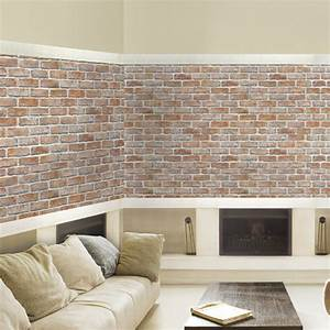 White Light Brown Brick Self Adhesive Wallpapers