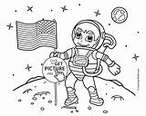 Coloring Astronaut Moon Astronauts Flag Space Printable Annette Lux Popular sketch template