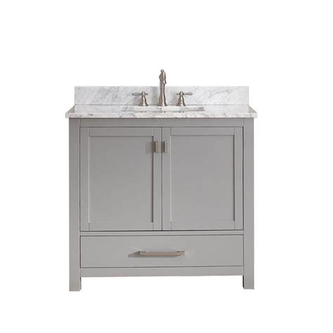 White Vanity With Gray Top by Avanity Modero 37 Inch W Freestanding Vanity In Grey With