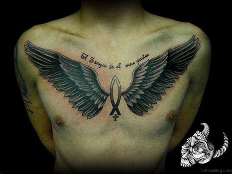 alluring wings tattoo  chest