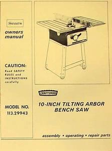 Craftsman 113 29943 10 U0026quot  Tilting Arbor Bench Saw Operator