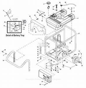 Generac 0057350  Gp17500e  Parts Diagram For Handle Frame Wheel