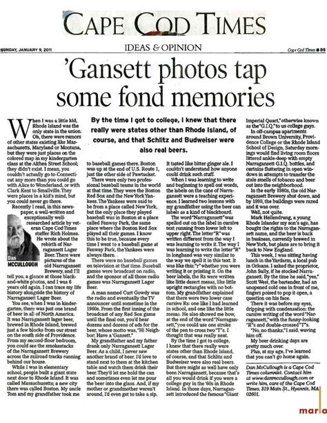 Narragansett Beer  Gansett Memories From Cape Cod Times