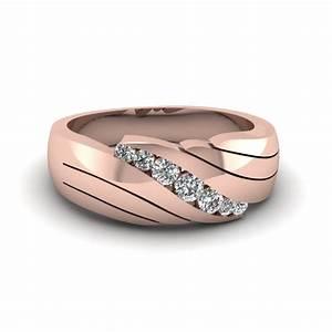 14k rose gold white diamond men39s wedding ring With mens rose gold wedding rings