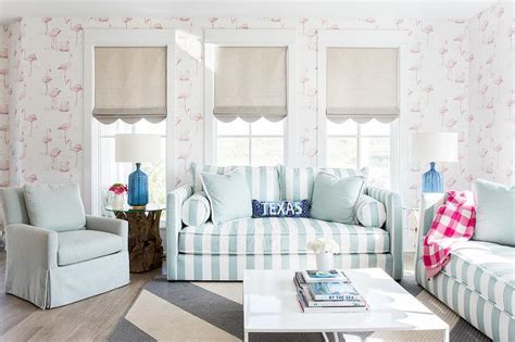 Showhouse Color Pastels by Turquoise Blue Striped Sofa With Pink Flamingos Wallpaper