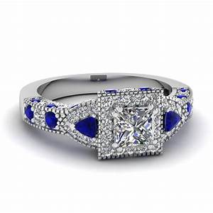 blue and white diamond ring emerald cut halo diamond With blue and white diamond wedding rings