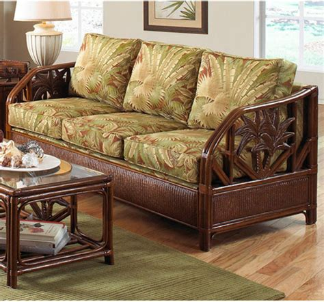 Bamboo Settee - cancun palm tropical indoor rattan and wicker sofa