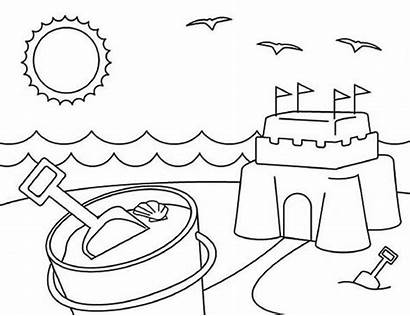Coloring Beach Pages Summer Sand Preschool Castle