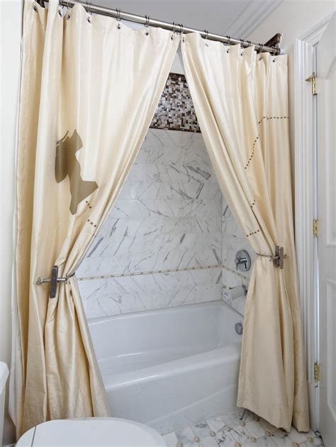 using two shower curtains and a pair of whimsical drapery