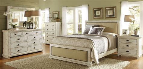 White Distressed Bedroom Furniture by Willow Distressed White Upholstered Bedroom Set P610 34