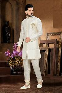 White sherwani for wedding online shopping USA Art silk wedding sherwani