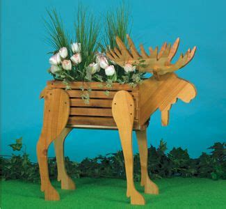 moose planter wood pattern add  rustic touch   deck