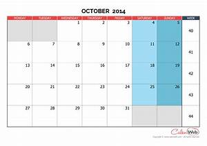 Monthly calendar - Month of October 2014 The week starts ...