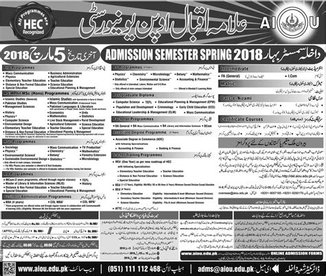 Aiou Ba Admission Form by Aiou Admission Schedule 2018 Spring Autumn Fa Ba Bed