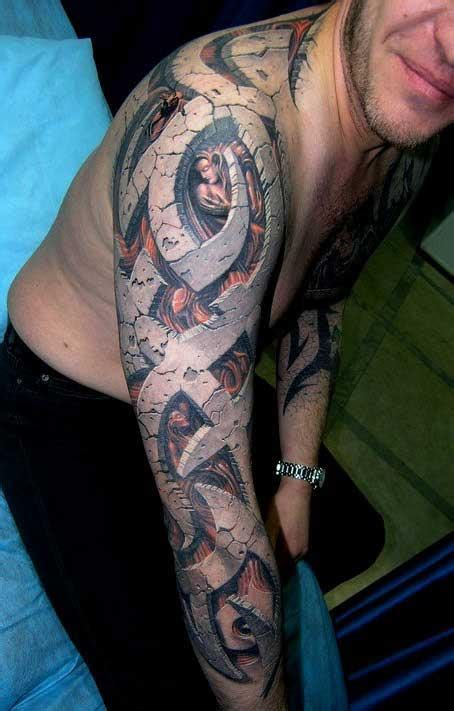 sleeve tribal design   stonework effect tattoos