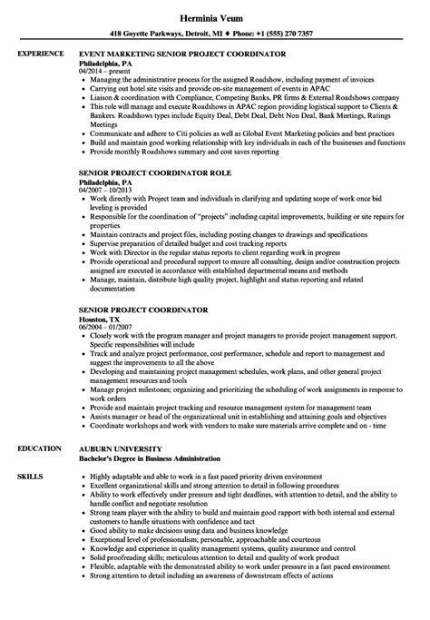 Project Coordinator Resume by Senior Project Coordinator Resume Sles Velvet