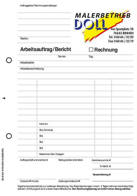 formular arbeitsauftrag auftragsformulare mit durchschlag