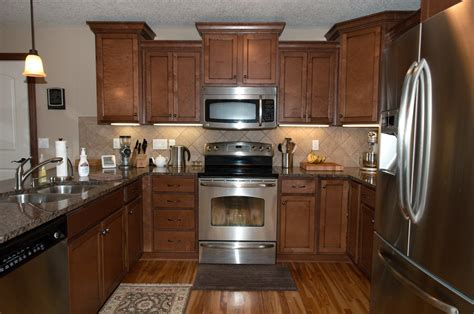 kitchen with brown cabinets granite countertops for medium brown cabinets savae org 6499