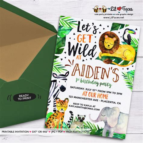 safari jungle birthday party printable invitations cute