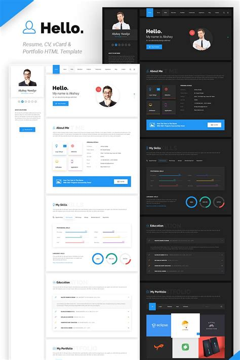 Cv Website Template by Hello Resume Cv Vcard Portfolio Html Template Website