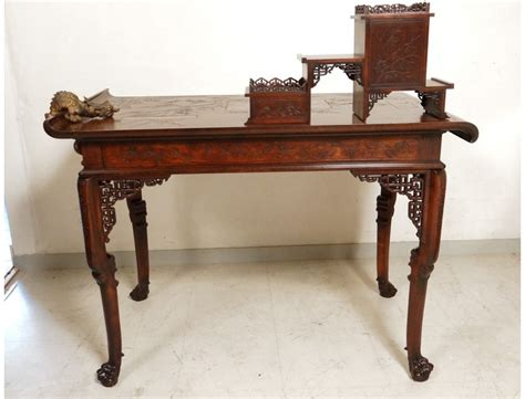 table bureau ancien office chair table pagoda viardot carved walnut shell