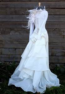 wedding dress noce with lace top boned corset and silk With corset top and skirt wedding dress