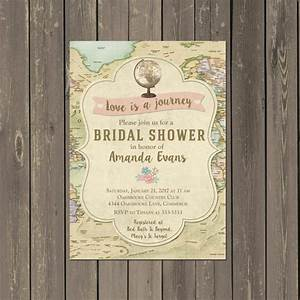 travel bridal shower invitations decor ideas mid south With free printable travel themed wedding invitations