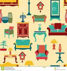 Furniture Seamless Pattern Vector Illustration ...
