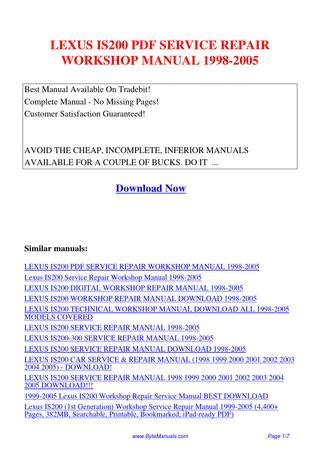 how to download repair manuals 1998 lexus sc lane departure warning lexus is200 service repair workshop manual 1998 2005 pdf by ging tang issuu