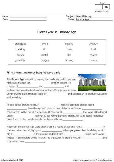 primaryleap co uk cloze exercise the bronze age worksheet history printable worksheets