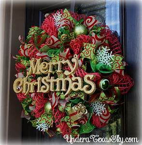 Christmas Deco Mesh Wreath Instructional Tutorial - Under
