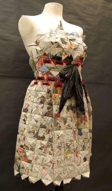 plastic bag prom dresses recycled dress newspaper dress