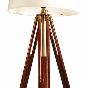 ledbury brown wooden tripod floor lamp cream shade With 4 legged wooden floor lamp