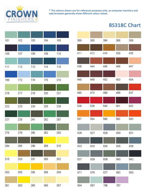 paint color chart crown crown metal finishers ltd specialist industrial painting