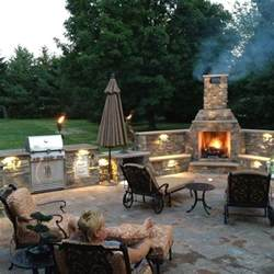 Stone Outdoor Fireplace Chimney