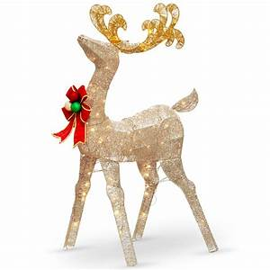 National, Tree, Company, 48, In, Reindeer, Decoration, With, Clear, Lights-df-070020u