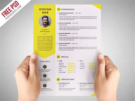 Clean Resume Psd by Clean Resume Cv Template Free Psd Psdfreebies