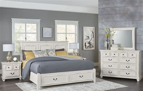 White Distressed Bedroom Furniture by Timber Creek Distressed White Mansion Storage Bedroom Set