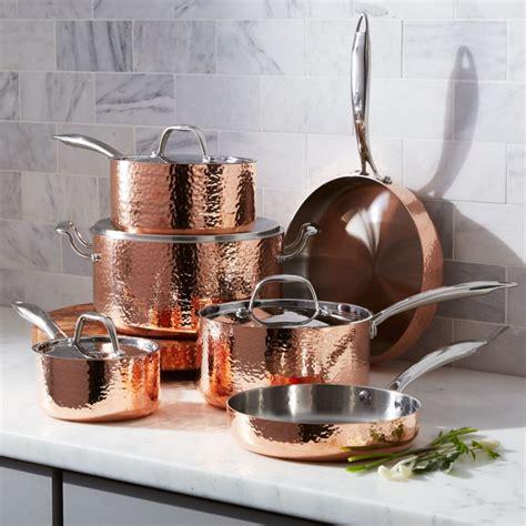 fleischer  wolf seville hammered copper  piece cookware set reviews crate  barrel