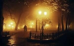 Tree, Night, Lamb, Couple, Love, Romantic, Mood, Fog, Kiss
