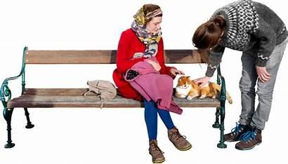 Cat Sun Loves Transparent Sitting Bench Park