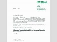 Personal Bank Reference Letter Sample by Belize Bank