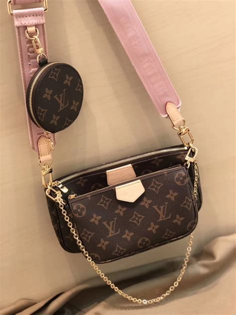 louis vuitton monogram multi pochette accessoires coin purse  rose clair  usd