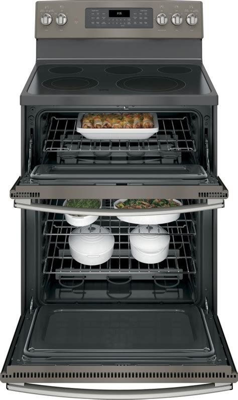 ge jbejes  freestanding electric double oven convection range slate