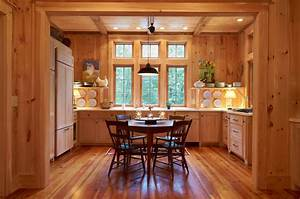 Knotty Pine Walls Kitchen Farmhouse with Medium Wood
